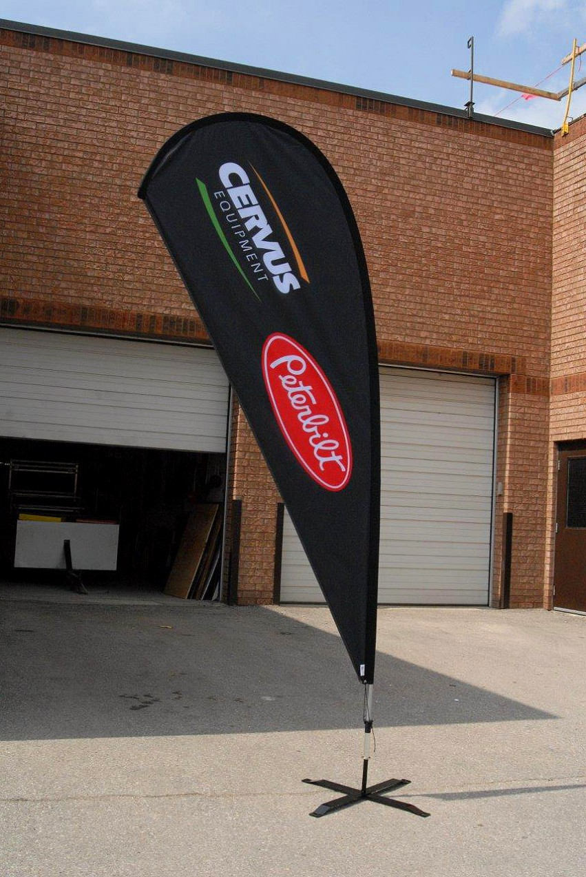 Teardrop banner used for trade shows