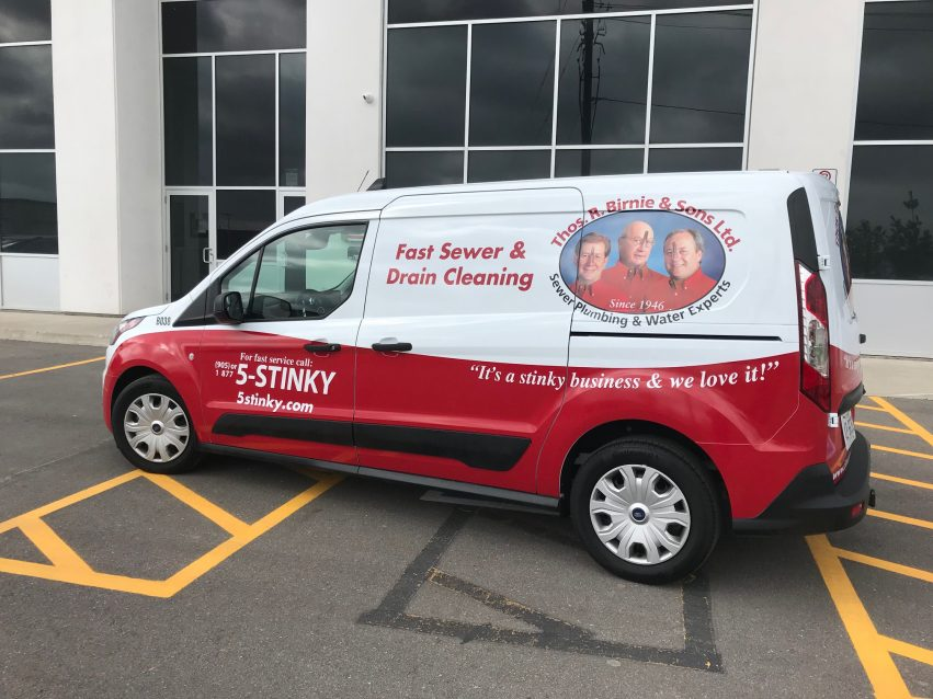 Van wrap with red stripe in 5Stinky corporate colours and the 5stinky logo