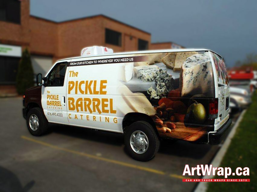 Van wrapped in vinyl graphics with Pickle Barrel logo and branding