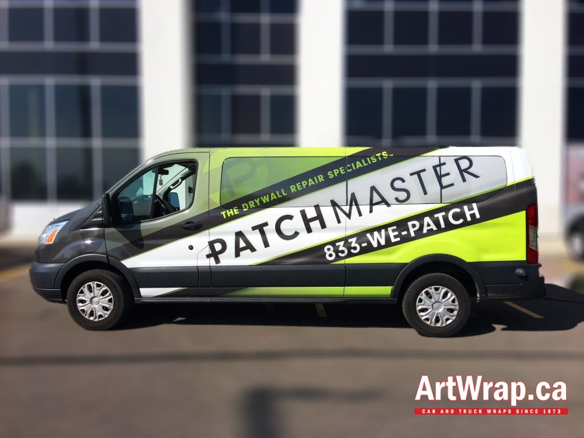Van with full coverage graphics and the Patchmaster branding