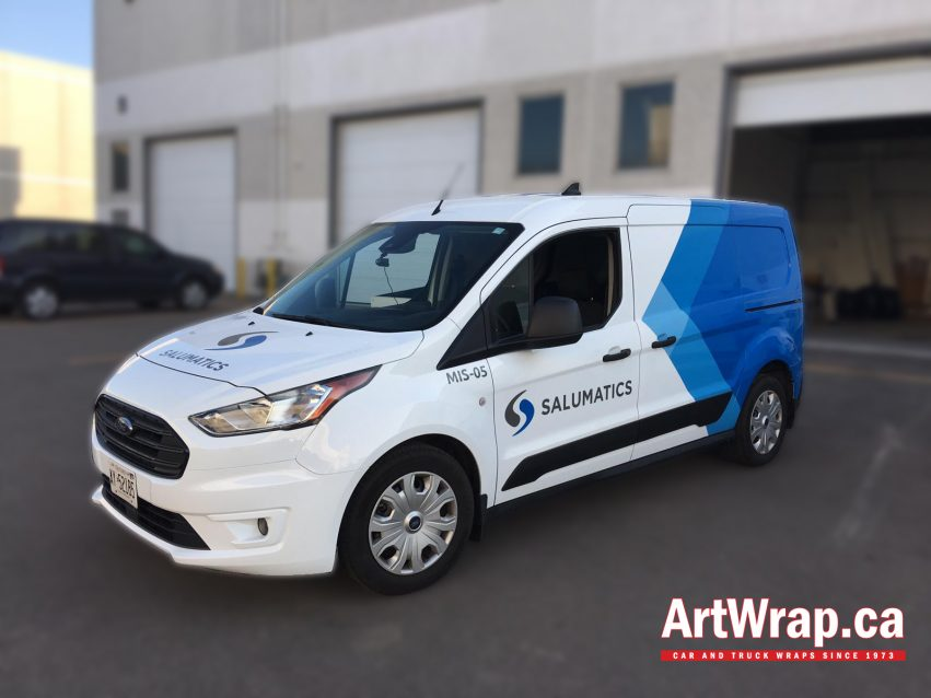 Car wrap with blue and white graphics with Salumatics branding