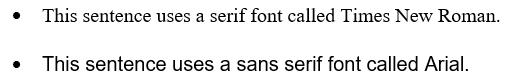example of a serif versus sans serif font