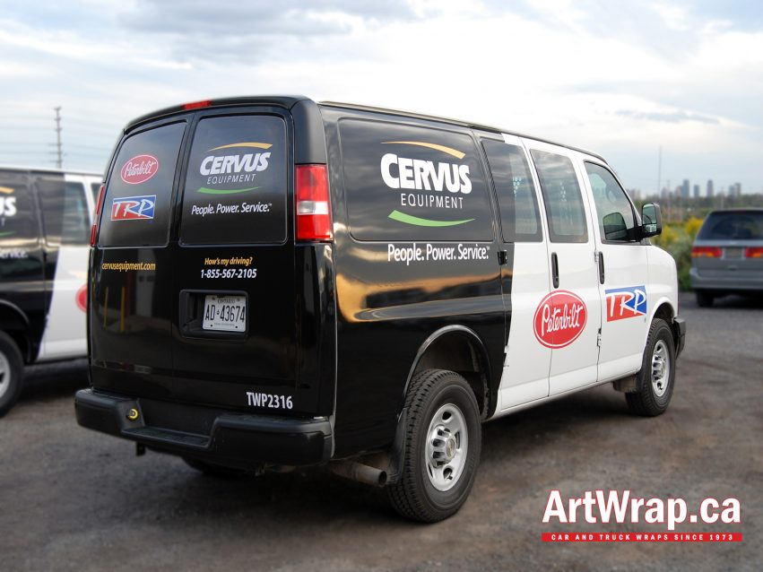 Black and white wrap on a van with Cervus branding